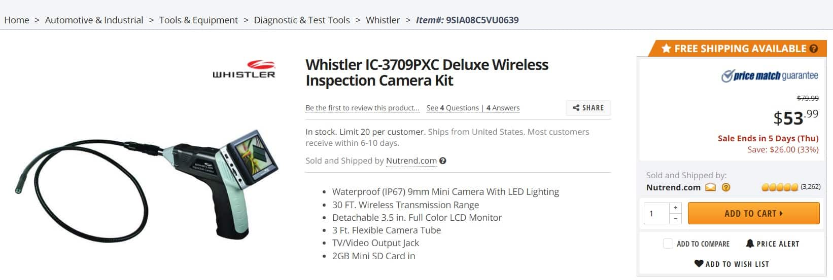Whistler IC-3709PXC Deluxe Wireless Inspection Camera Kit w/Detachable 3.5 in. Full Color LCD Monitor - Newegg : $53.99