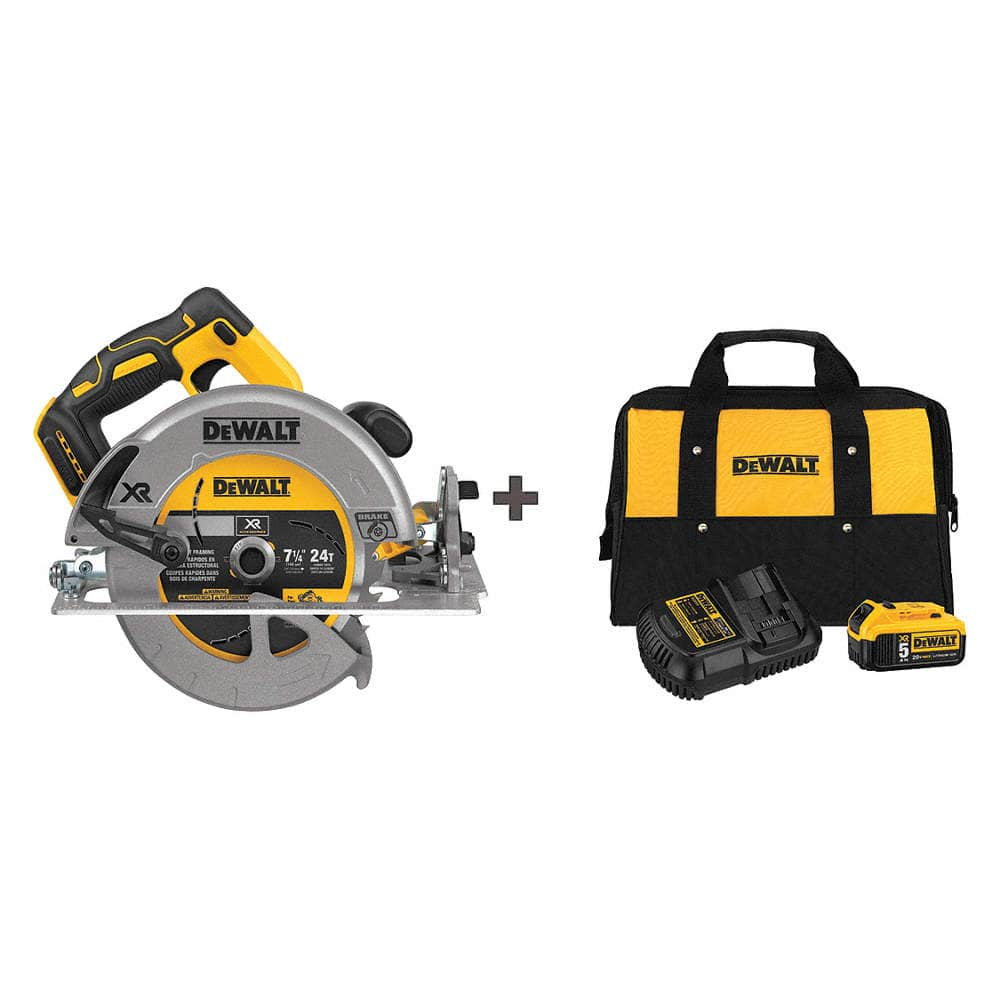 DeWalt 7 1/4 in 20V MAX Brushless Circular Saw + 5 Ah battery kit $185.52