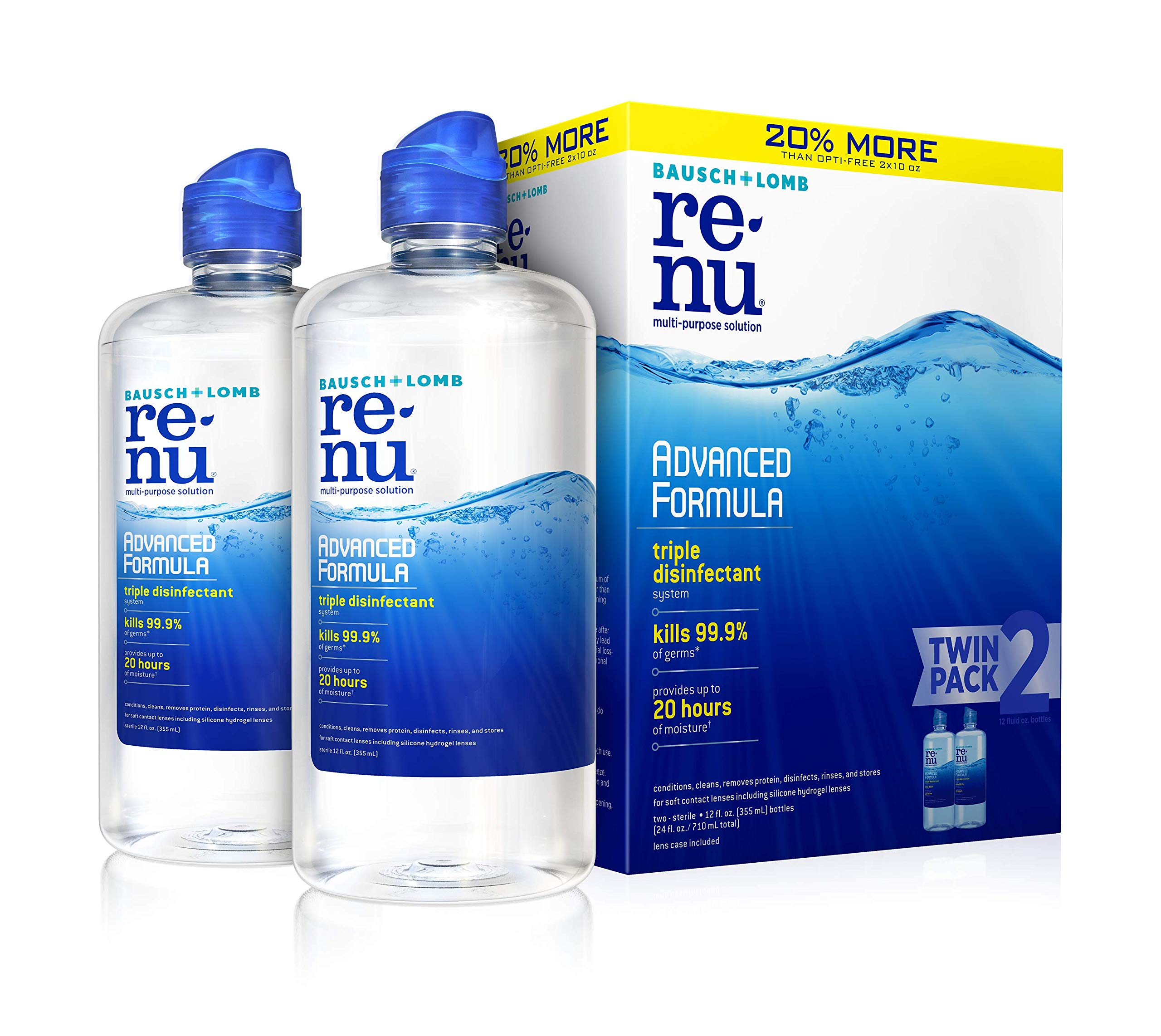 2 pack 12oz Contact Lens Solution by Renu, Multi-Purpose Disinfectant, Advanced Formula Kills 99.9% of Germs: $9.78 or lower (Prime members save extra 20% off) at Amazon