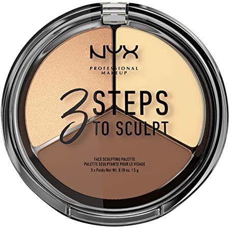 NYX PROFESSIONAL MAKEUP 3 Steps to Sculpt, Face Sculpting Contour Palette - Light: $2.53 or lower