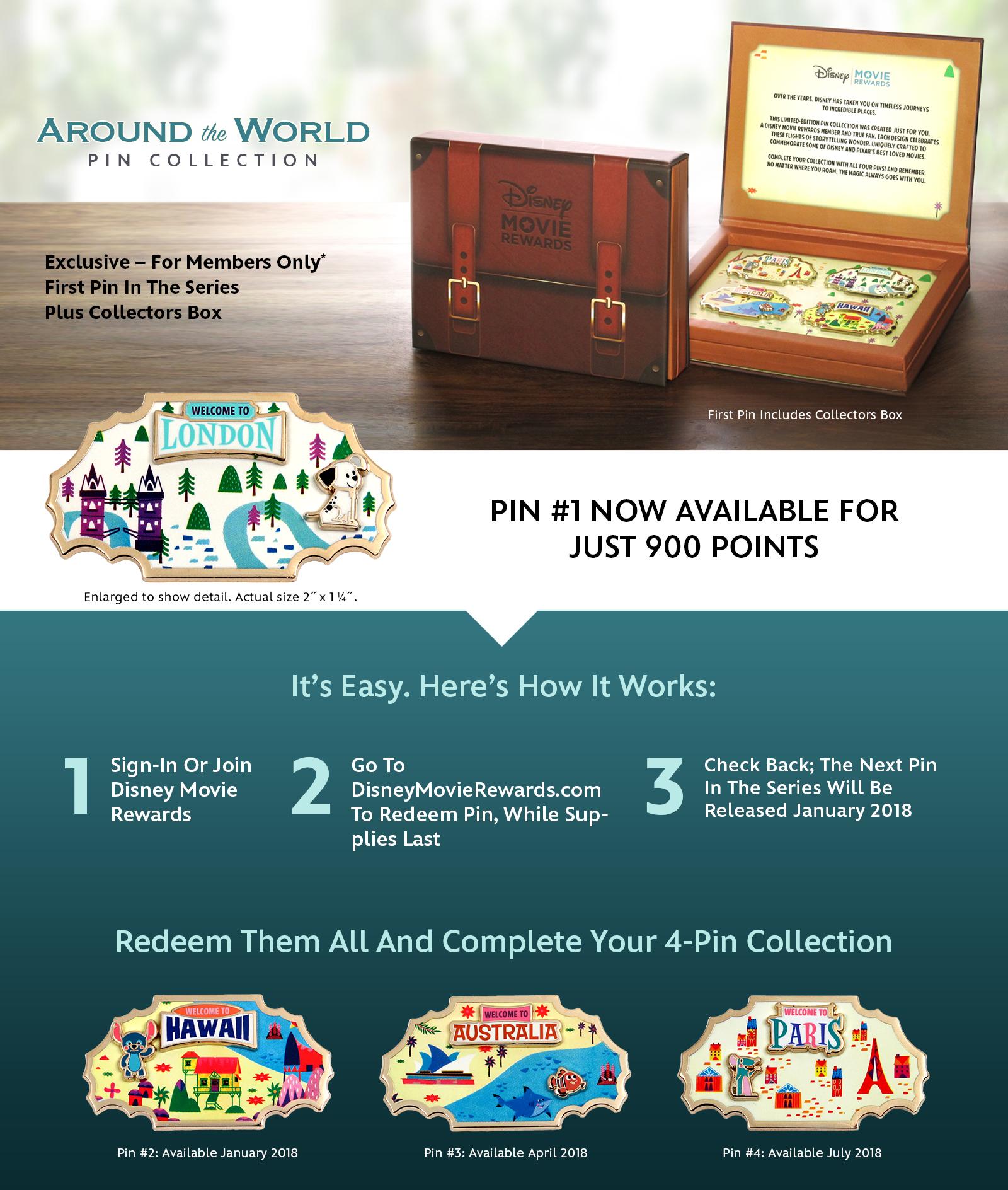 Disney Movie Rewards' Around The World Pin Collection: redeem for 900 points