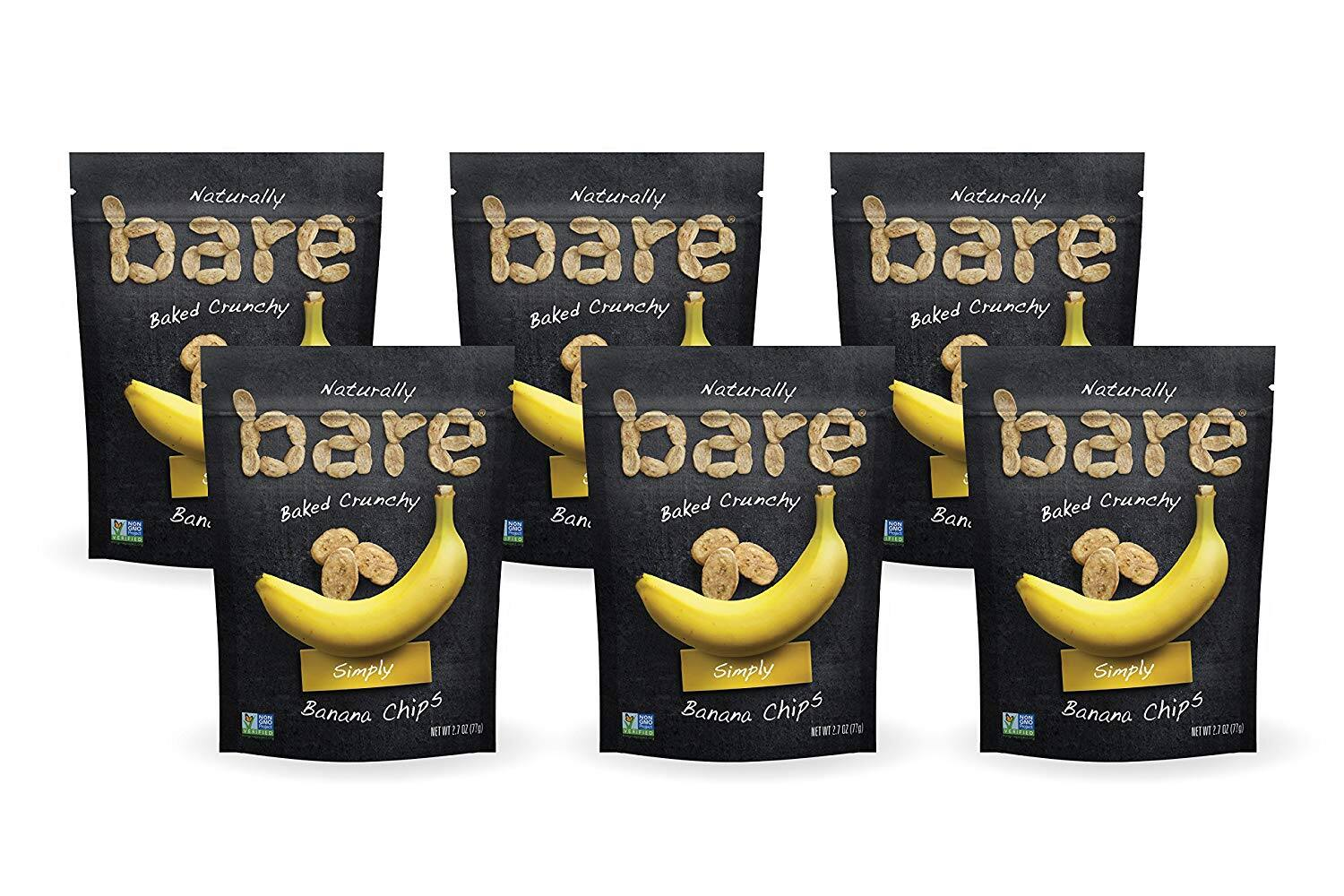 Bare Baked Crunchy Banana Chips, Simply, Gluten Free, 2.7 Ounce, Pack of 6: $12.10 or less w/S&S and A/C