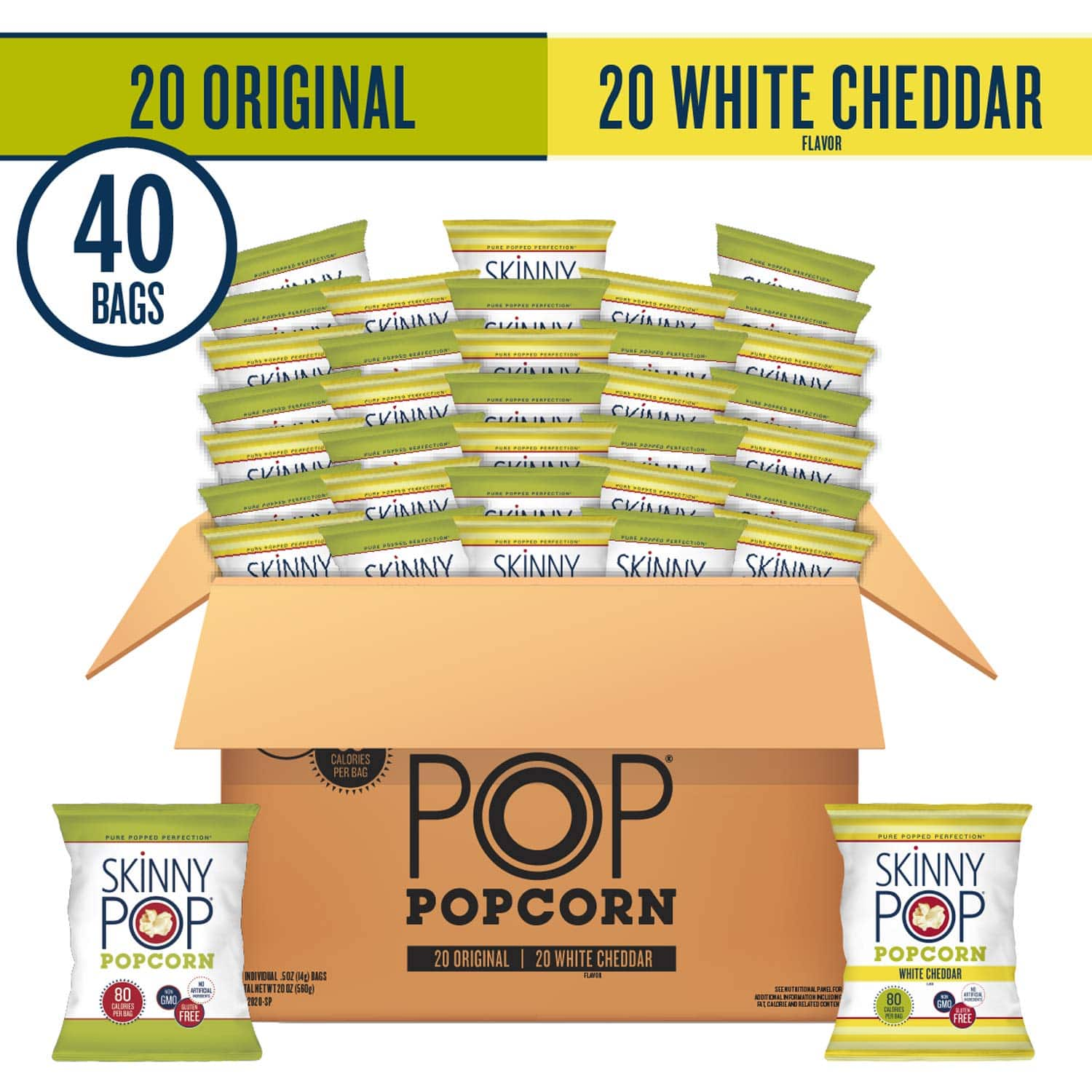 SkinnyPop Popped Popcorn Variety (Original & White Cheddar), Individual Bags, Healthy Snacks, 0.5oz (Pack of 40): $14.95 or less w/S&S