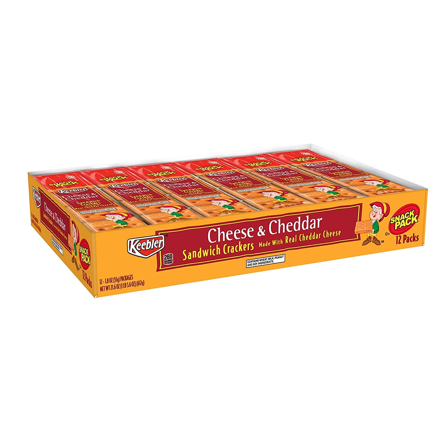Keebler Cheese and Cheddar Sandwich Crackers, Single Serve, 1.8 oz Packages (12 Count): As low as $3.82 w/S&S