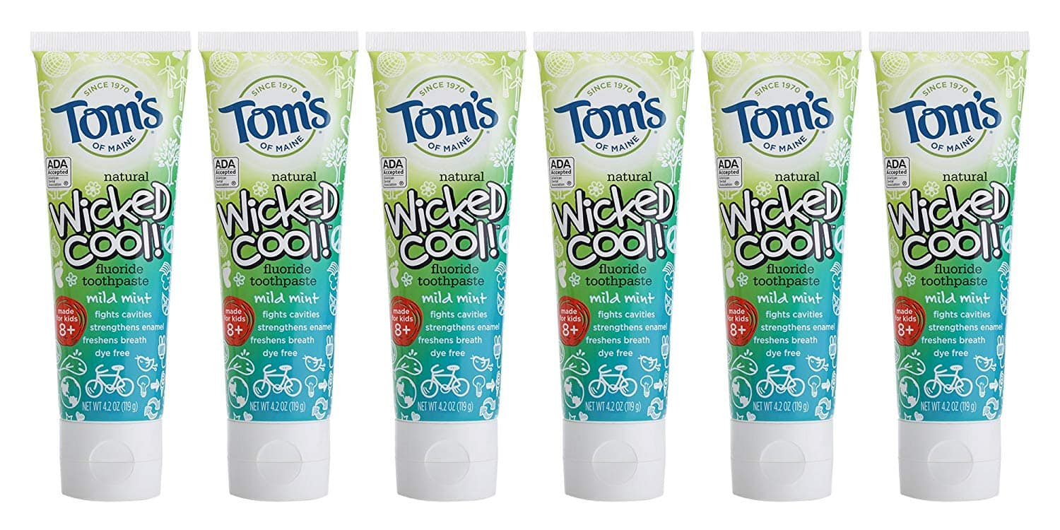 Tom's of Maine Natural Wicked Cool Fluoride Toothpaste, Mild Mint, 4.2 Ounce (Pack of 6): As low as $12.44 w/S&S