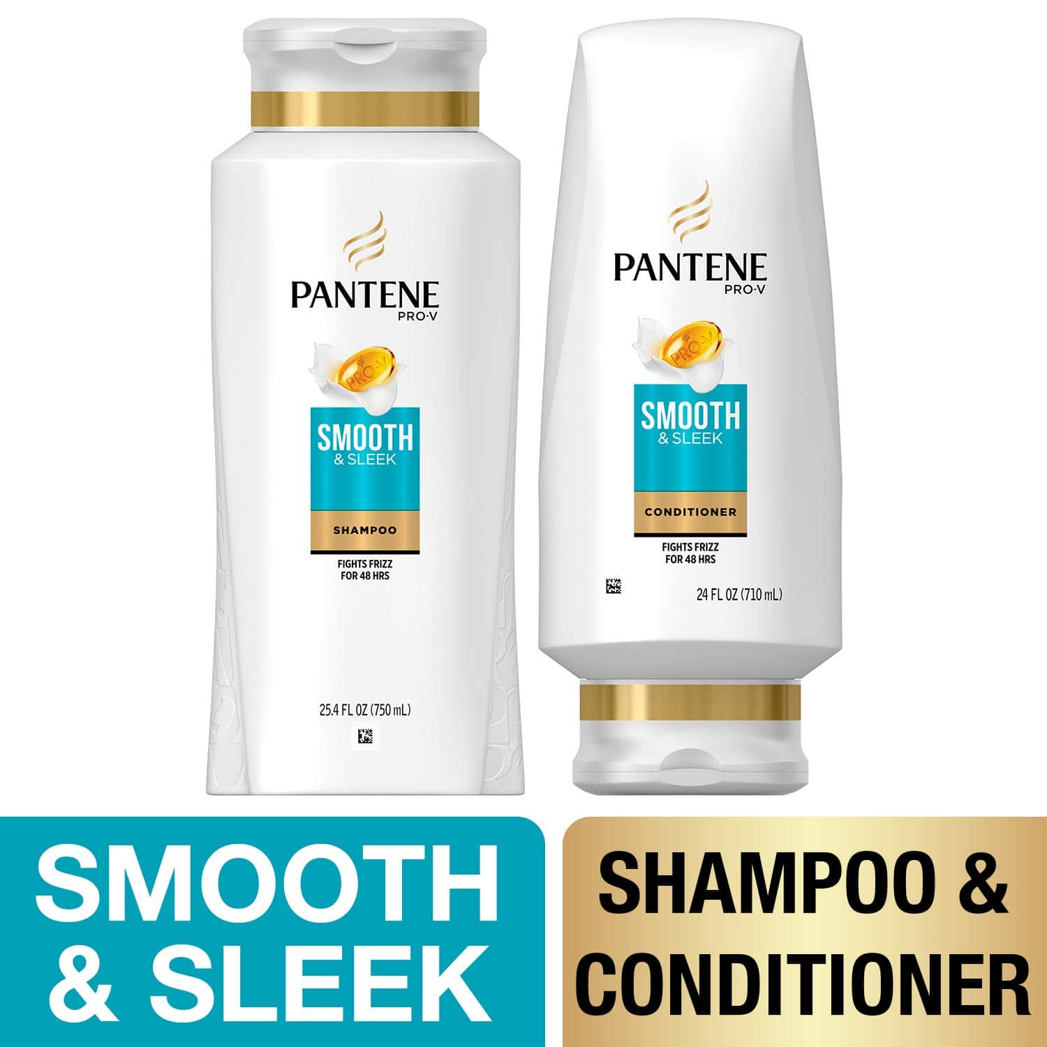 Pantene, Shampoo and Sulfate Free Conditioner Kit, with Argan Oil, Pro-V Smooth and Sleek for Dry Hair, 25.4 oz and 24 oz, Kit: As low as $7.50 w/S&S