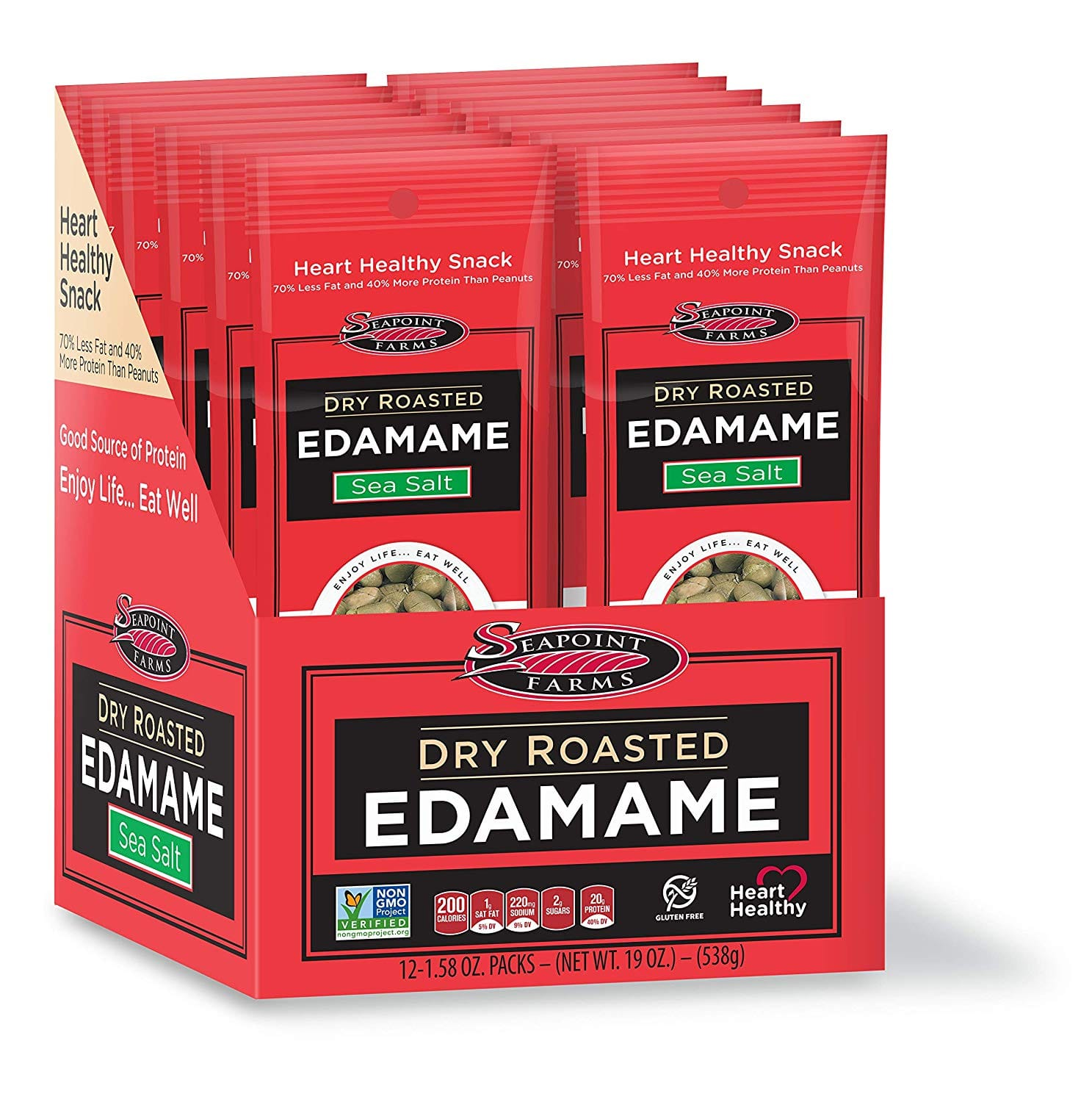 Seapoint Farms Sea Salt Dry Roasted Edamame, Healthy Snacks, 1.58 oz, 12-Pack: $10.15 or less w/S&S