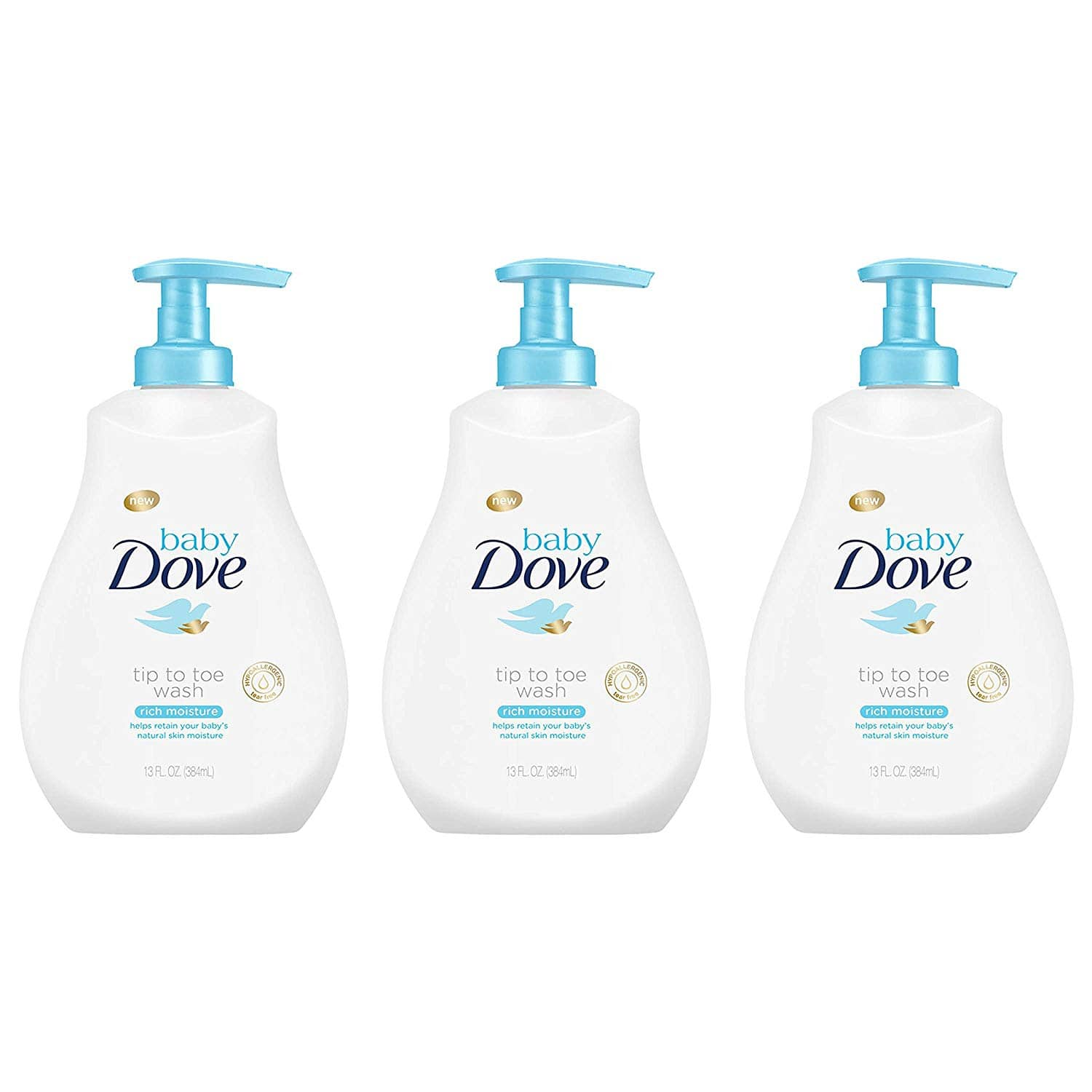 Baby Dove Rich Moisture Tip to Toe Baby Wash and Shampoo 13 Fl Oz (Pack of 3): As low as $10.52 w/S&S and A/c