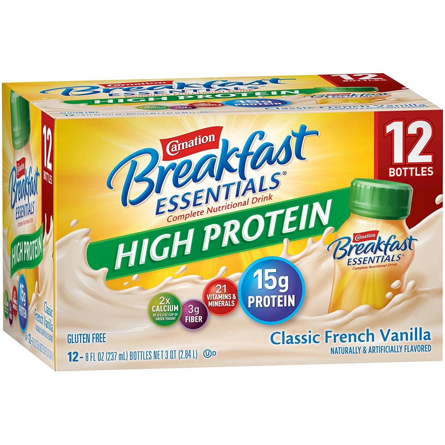 Carnation Breakfast Essentials High Protein Ready-to-Drink, Classic French Vanilla, 8 Ounce Bottle (Pack of 24): $18 or less w/S&S and A/c