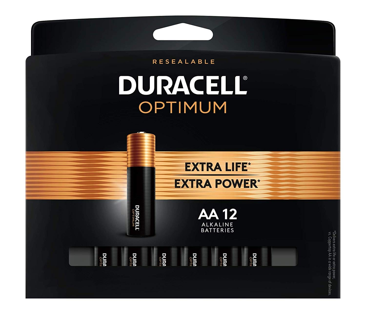 12 count Duracell Optimum 1.5V Alkaline AA Batteries - Long Lasting, Double A Battery with Convenient, Resealable Package: As low as $5.75 w/15% S&S and A/c, $7.03 w/5% S&S