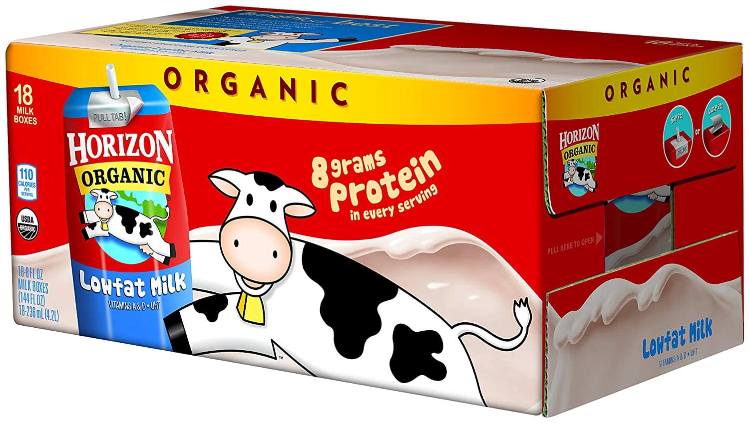 18 pack Horizon Organic 1 % Low Fat Milk, 8-Ounce Aseptic Cartons: As low as $10.36 w/S&S and A/c