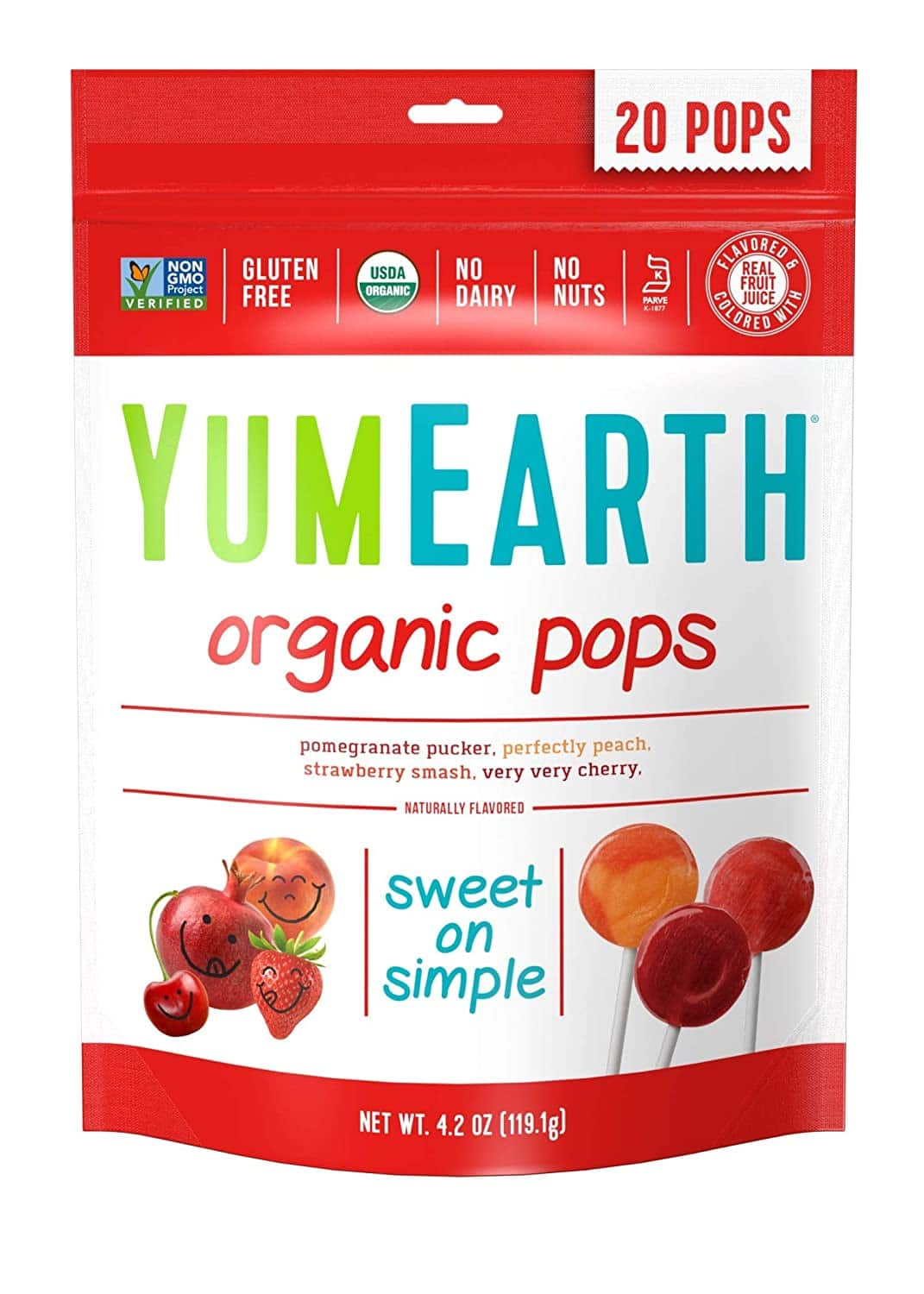 YumEarth Organic Lollipops, Assorted Flavors, 4.2 Ounce, 20 Lollipops: $2.84 or less w/S&S