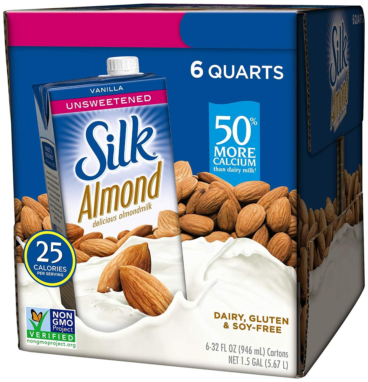6 pack Silk Almond Milk, Unsweetened Vanilla, 32 Fluid Ounce, Vanilla Flavored Non-Dairy Almond Milk, Dairy-free Milk: $9.96 or less w/S&S