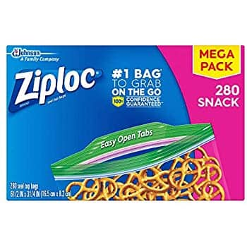 280 Count Ziploc Snack Bags, Easy Open Tabs, Ideal for Packing Cookies, Fruits, Vegetables, Chips and More:$5.54 or less w/S&S
