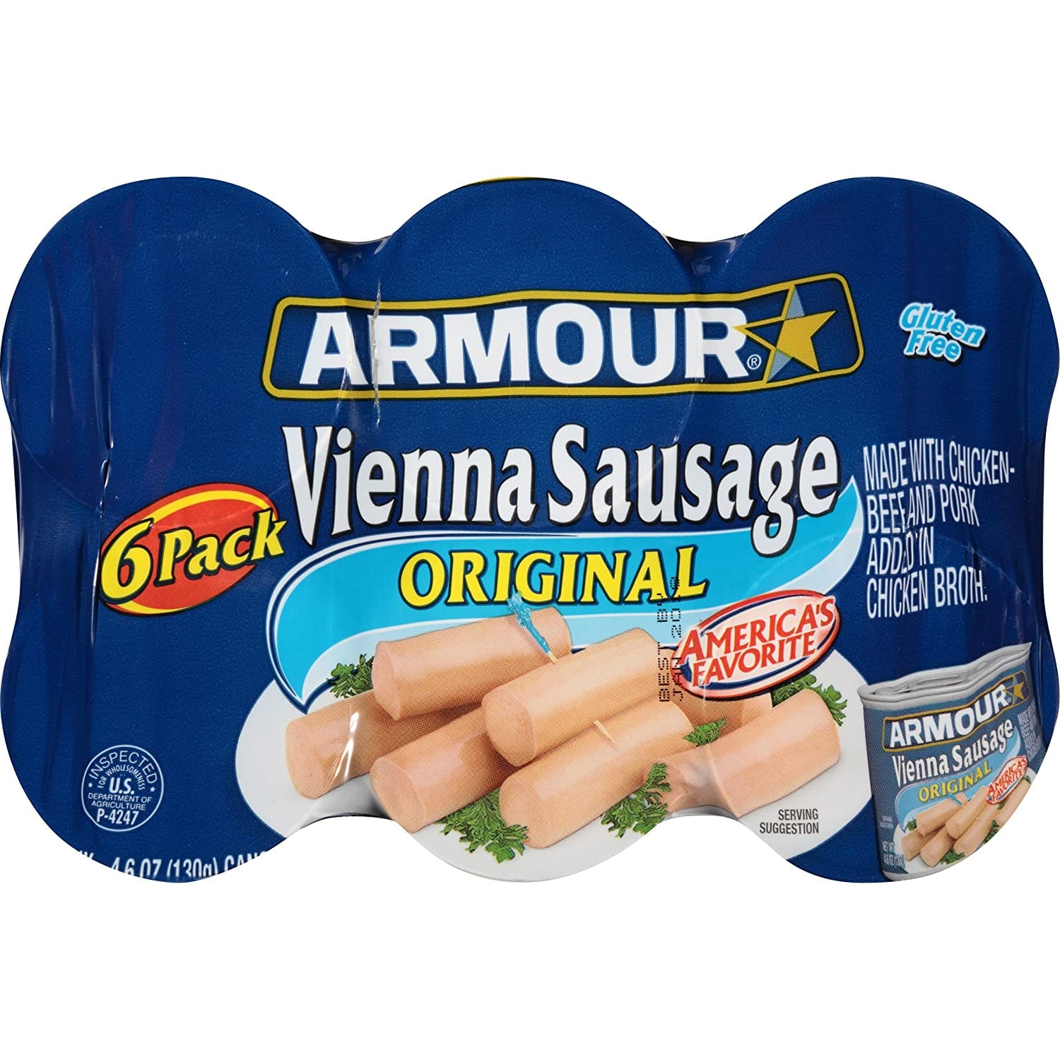 6 count Armour Vienna Sausage, Original, 4.6 Ounce: $2.98 + FS/Prime