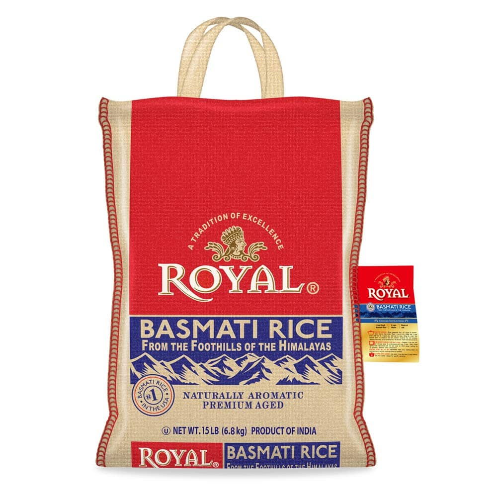 Royal Basmati Rice, 15-Pound Bag: $12.74 + FS/Prime (Price drop from $15.27)