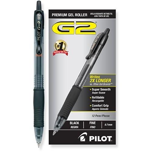 Pilot G2 Retractable Gel Ink Roller Ball Pens, Fine Pt,Dozen Box $10.75