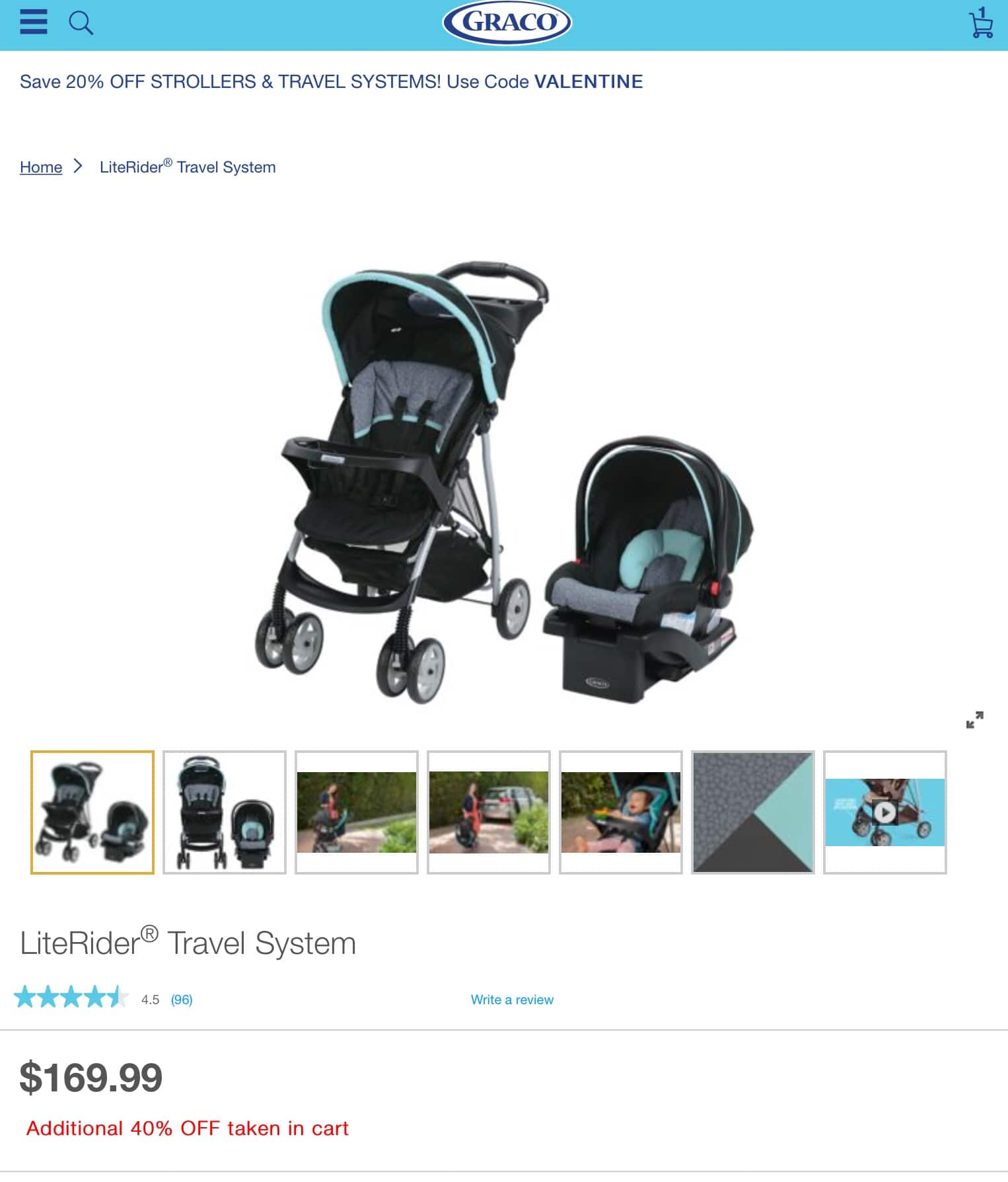 40% Off Graco Literider Travel System, Additional 20% Off $81.59