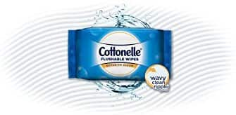 Cottonelle FreshCare Flushable Wipes, 336 Flushable Wet Wipes (Eight 42-Count Resealable Soft Packs) $14.99