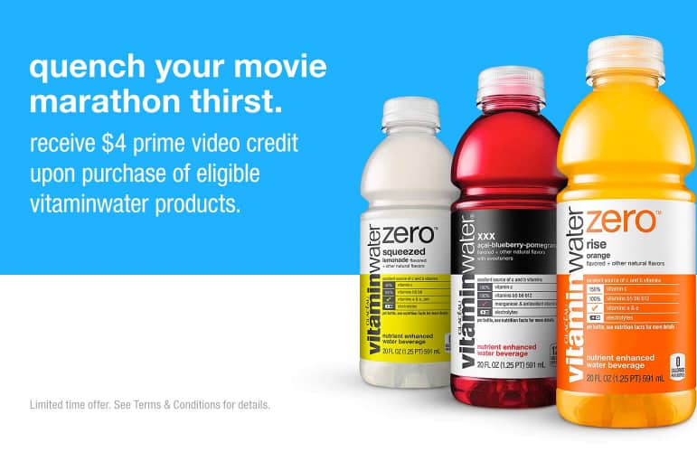 4$ prime video credit with Vitaminwater purchase $14