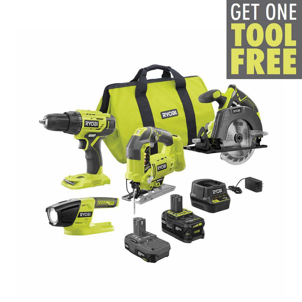 RYOBI ONE+ 18V Cordless 3-Tool Combo Kit with (1) 1.5 Ah Battery, (1) 4.0 Ah Battery, Charger, Bag w/Free Jig Saw-PCK101KN-P5231 - The Home Depot