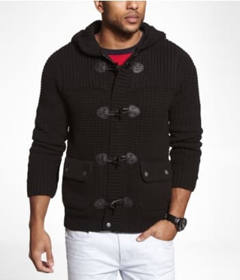Express WAFFLE KNIT HOODED TOGGLE CLASP CARDIGAN $23.99 FS w/$125 [price error possibly]