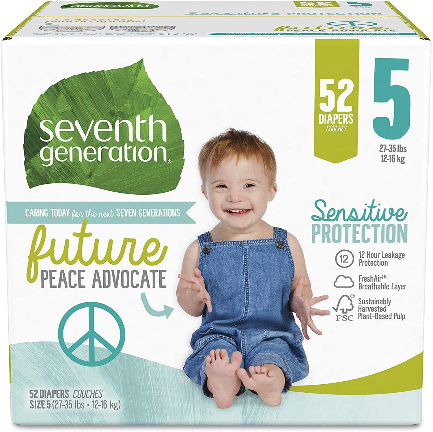 Seventh Generation Baby Diapers, Size 5, 52 Count $5.28 @amazon