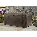 Suncast DBW9200 Mocha Wicker Resin Deck Box, 99-Gallon 89.84 or less