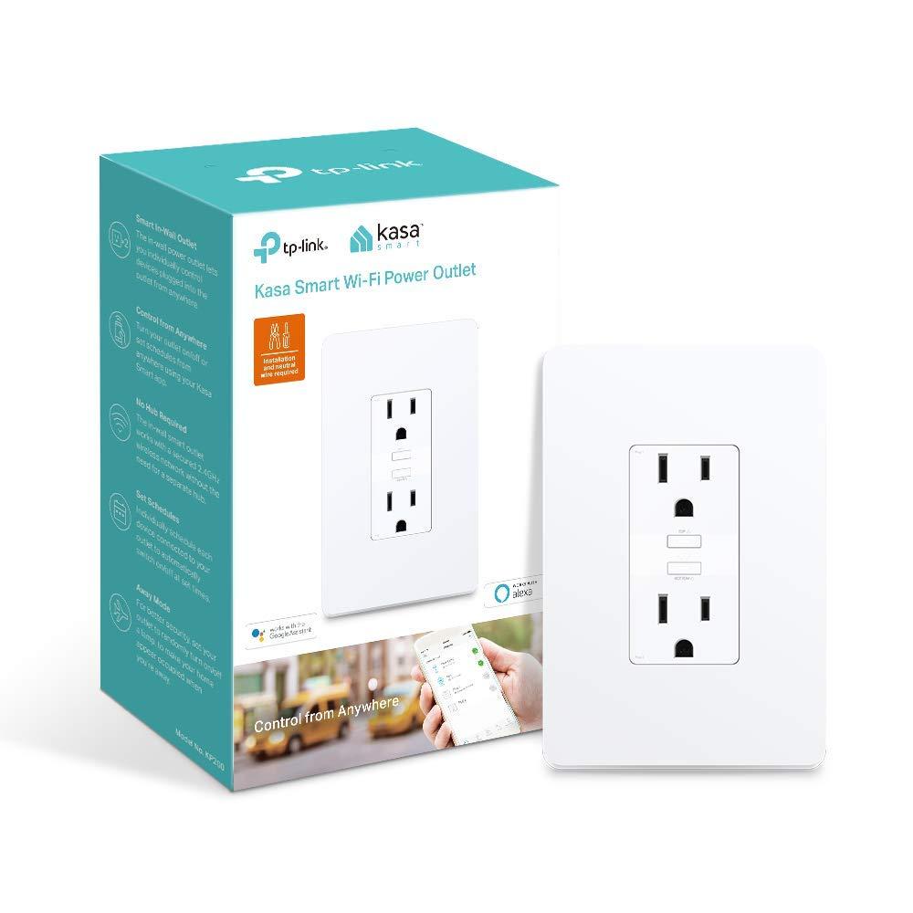 TP-Link Kasa Smart (KP200) Wifi 2 Outlet In-Wall Plug - Amazon - $22.99