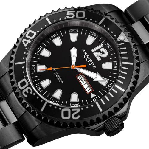 Men's Akribos XXIV AK947 Diver Style Day Date Stainless Steel Bracelet Watch $47.89