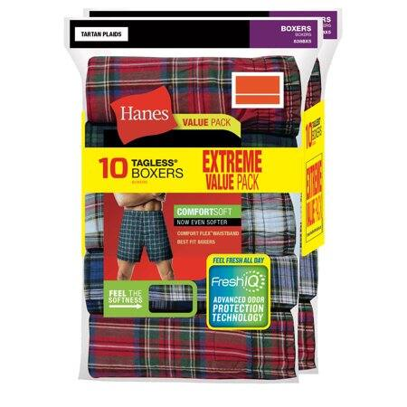10-Pack Hanes Classic Plaid Tagless Boxer $10 (In Store) YMMV