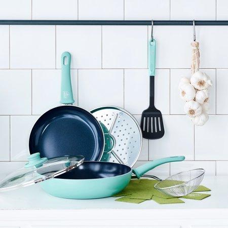 8-Piece GreenLife Diamond Ceramic Non-Stick Cookware Set (Turquoise) $20 + Free Store Pickup