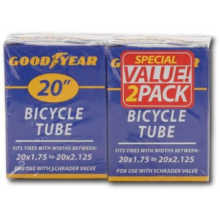 """2-Pack Goodyear 20"""" Bicycle Tube w/ Schrader Valve $5 + Free Store Pickup"""