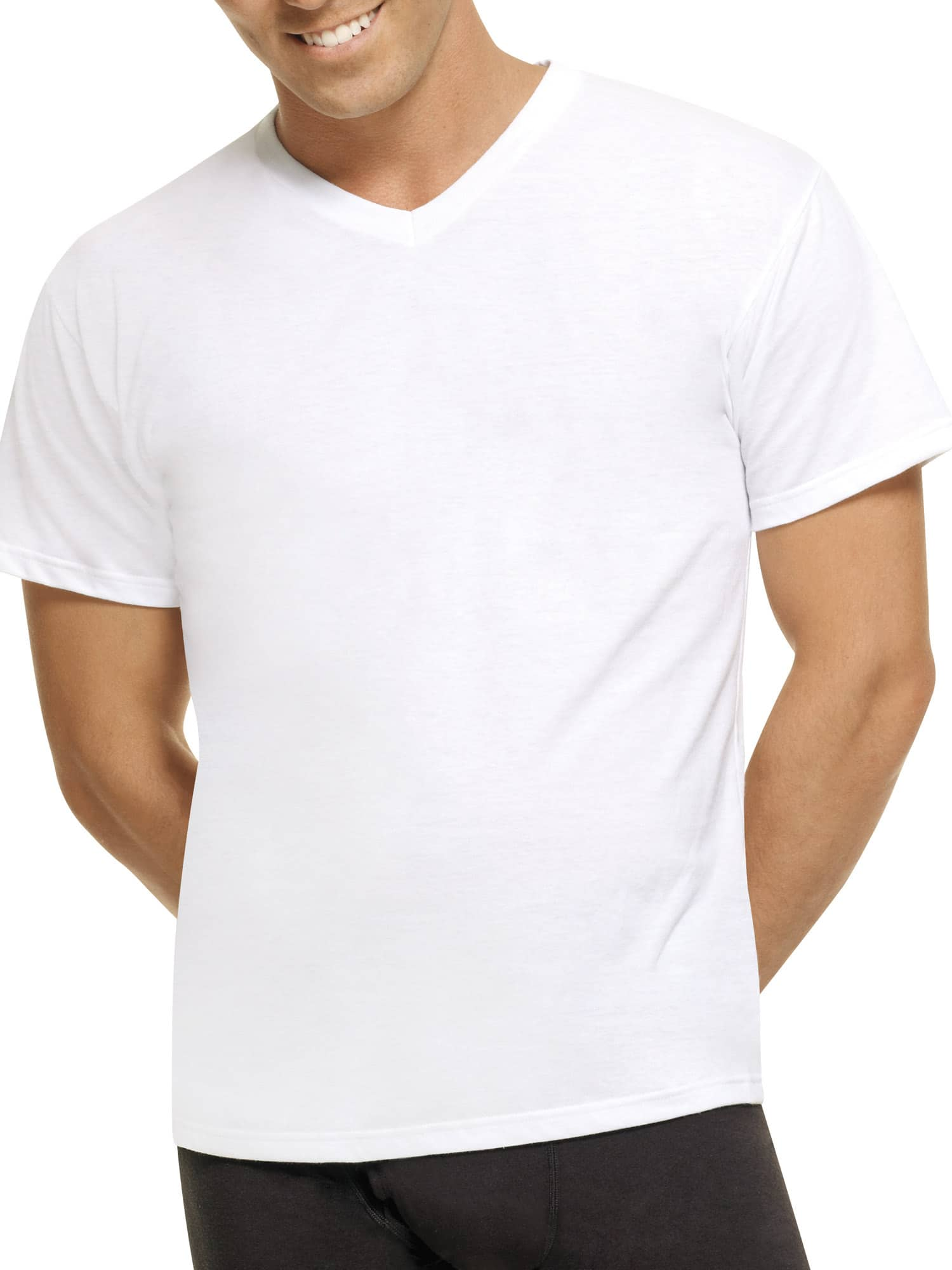 5-Pack Hanes Mens ComfortBlend White V-Neck T-Shirts $7