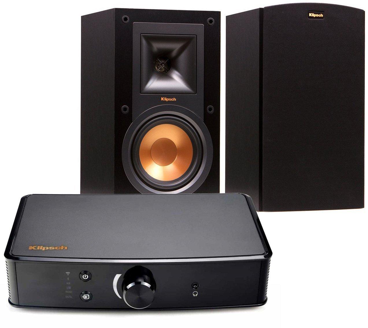 Klipsch R-15M Bookshelf Speakers and Powergate Amplifier Bundle, Black $379.99