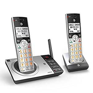 AT&T CL82207 DECT 6.0 Expandable Answering System with Smart Call Blocker, Silver/Black with 2 Handsets [CL82207 Digital Answering System with 2 Handsets] $36.83