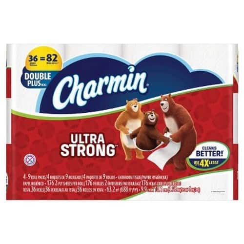 72-Ct Charmin Ultra Strong Double Plus Roll Toilet Paper + $5 Target Gift Card $31.98