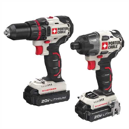 PORTER-CABLE 2-Tool 20-Volt Max Lithium Ion Brushless Cordless Combo Kit $139