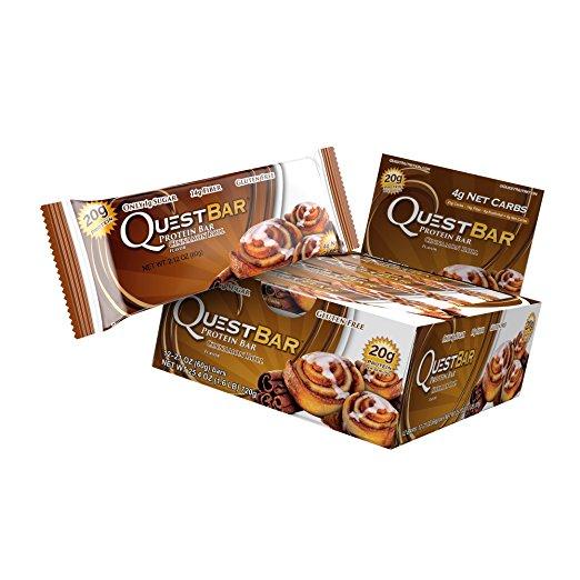 Quest Nutrition Protein Bar Cinnamon Roll, 2.1 oz Bar, 12 Count $16.38