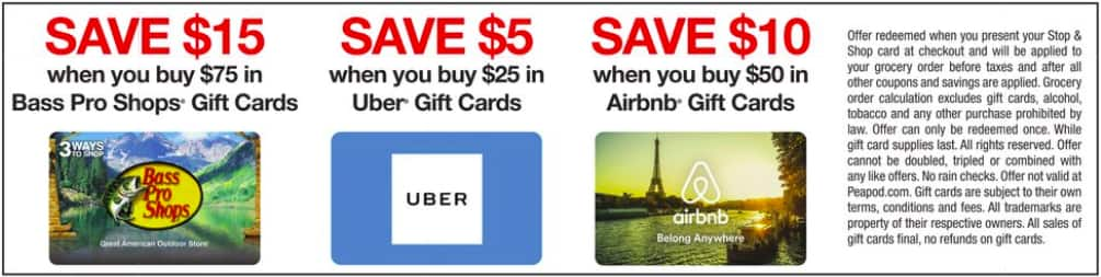 Select Gift Cards 20 Off At Stop And Shop Uber Airbnb Bass Pro