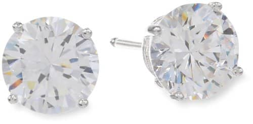 Sterling Silver Round Cut Cubic Zirconia Stud Earrings [Platinum-Plate, 1 cttw] $6