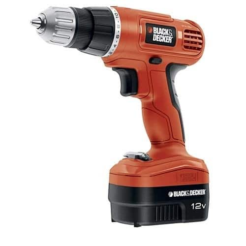 Black & Decker GCO1200C 12-Volt Cordless Drill with Over Molds, Orange and Black $29.99