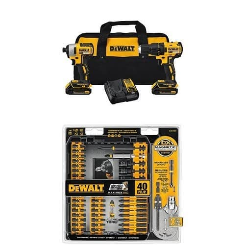 DEWALT DCK277C2 20V MAX Compact Brushless Drill and Impact Combo Kit and IMPACT READY FlexTorq Screw Driving Set, 40-Piece [Brushless Combo kit w/ screwdriving set] $165