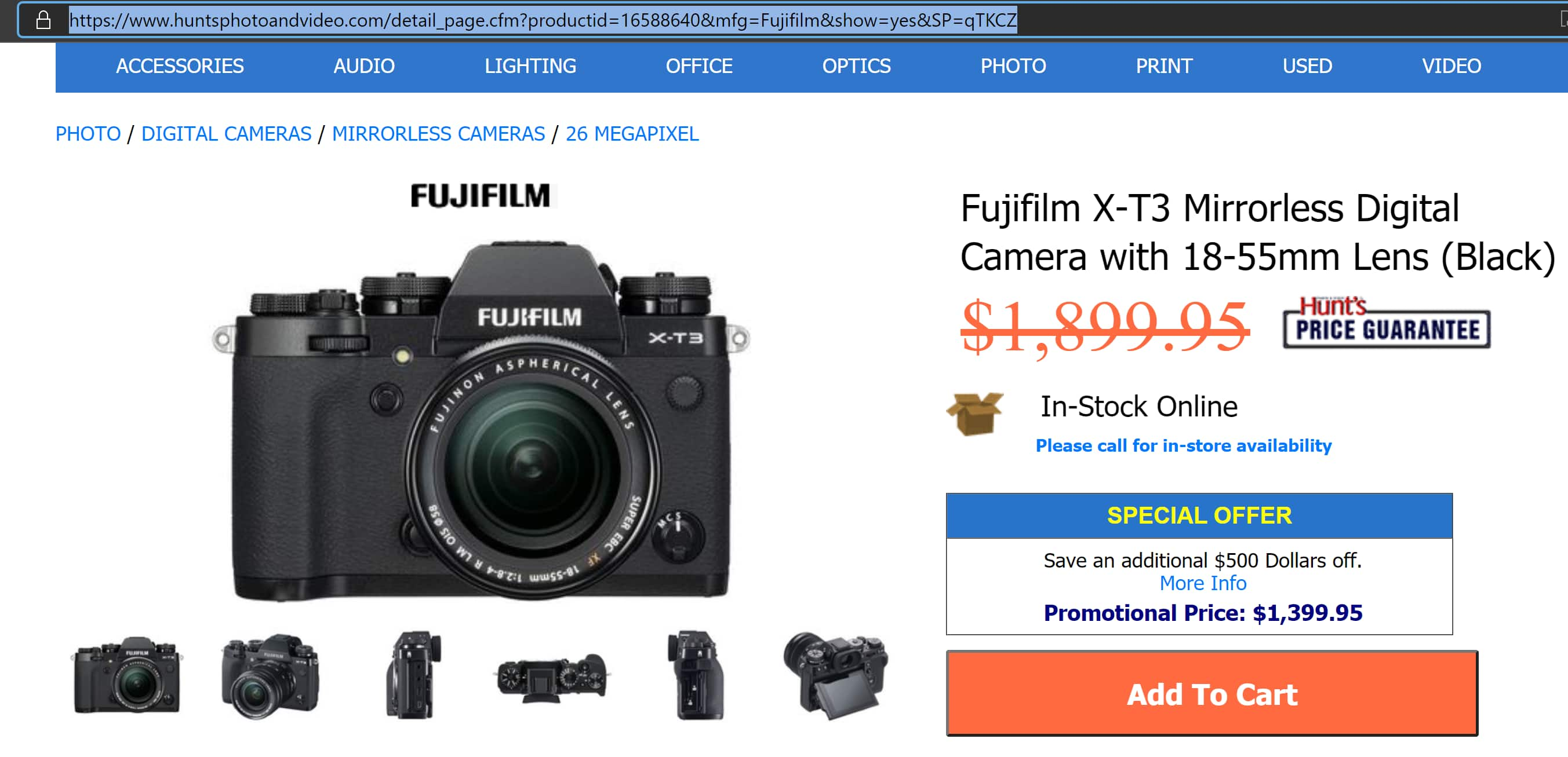 Fujifilm X-T3 Body and XF 18-55mm Lens at Hunt's Photo and Video - $1399.95