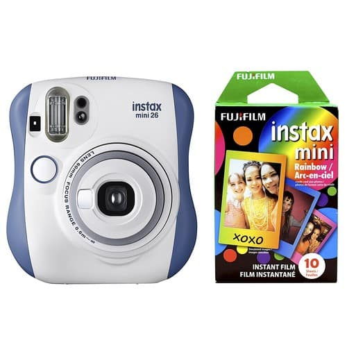 Fujifilm Instax Mini 26 + Rainbow Film Bundle - Blue/White $54.99 + FREE Shipping