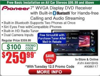 "Pioneer AVH-X491BHS - 7"" Display - $259.99 with Coupon Code and Free installation"