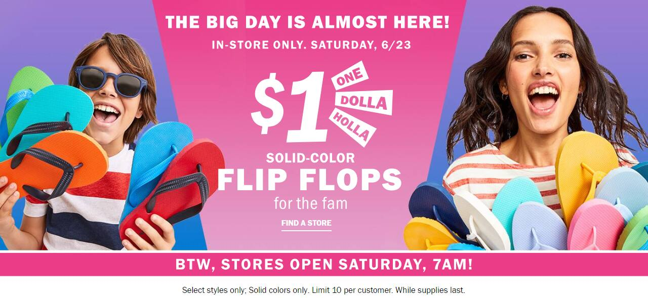 Old Navy In Store $1 Flip Flop Sale on 6/23