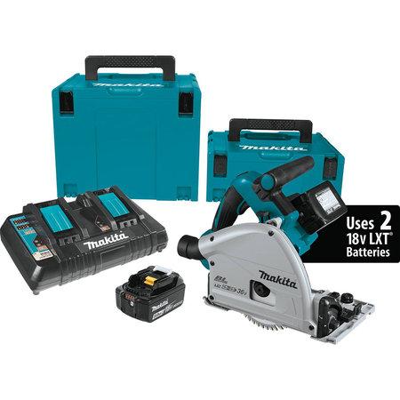 "Makita 18V X2 LXT 6-1/2"" Brushless Track Saw Kit (Circular Saw) + 2-Pk Batteries (Extra) & Guide Rail $479"