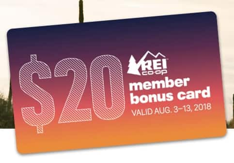 REI OUTLET offers $20 off $100, can stack with REI member's spend $100, get a $20 bonus card