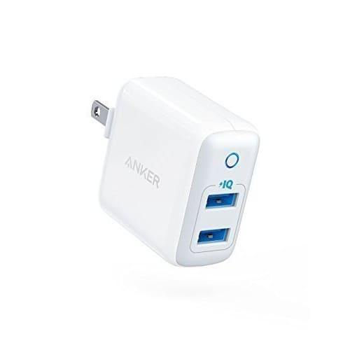 [Upgraded] Anker PowerPort II with Dual PowerIQ Ports, 24W Ultra-Compact Travel Charger with Foldable Plug at $9.12